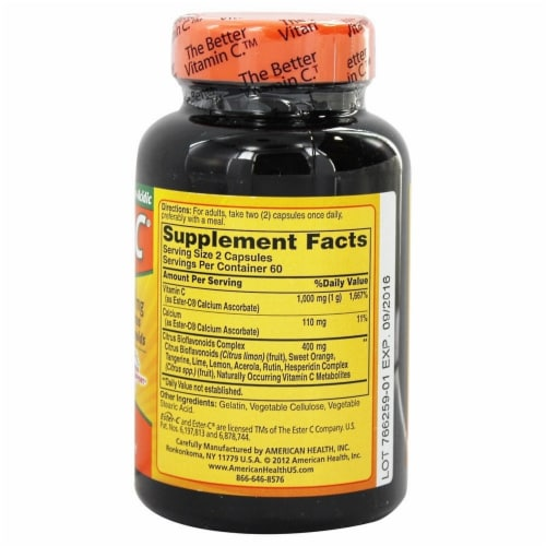 American Health 500 Mg Ester C with Citrus Bioflavonoids, 120 + 120 Capsules Perspective: back