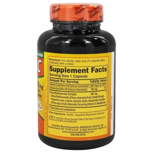 American Health 1000 Mg Ester C With Citrus Bioflavonoids, 90 + 90 Capsules Perspective: back