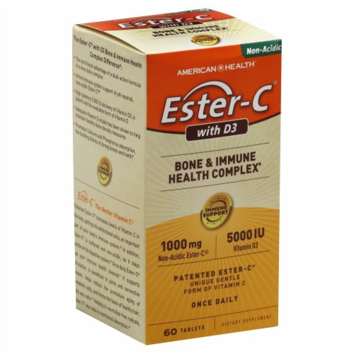 American Health Ester-C 1000 mg with D3 5000 IU Bone & Immune Health Complex Perspective: back