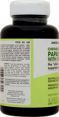 American Health Chewable Papaya Enzyme with Chlorophyll Digestive Health Formula Perspective: back