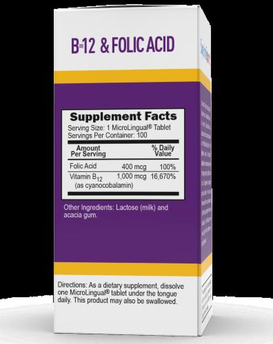 Superior Source No Shot B-12 & Folic Acid Tablets Perspective: back