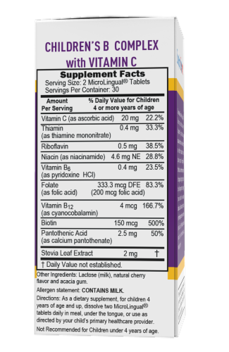 Superior Source Children's B Complex with Vitamin C Instant Disssolve Tablets 60 Count Perspective: back
