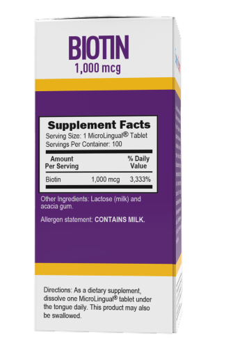 Superior Source Micro Lingual Biotin Dissolving Tablets 100 Count Perspective: back