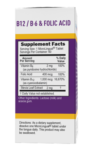 Superior Source No Shot B-12 with B6 and Folic Acid Dissolving Tablets Perspective: back