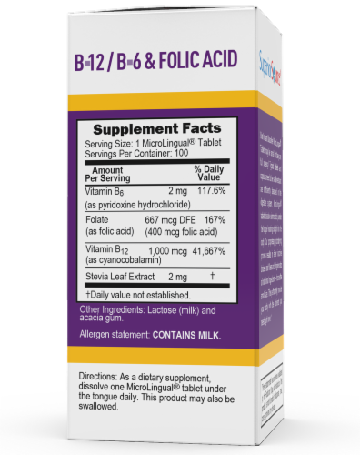 Superior Source No Shot B-12 with B6 & Folic Acid Tablets Perspective: back