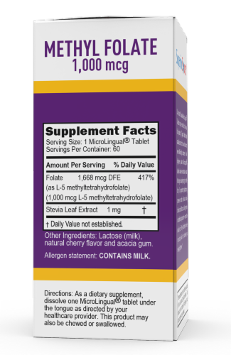 Superior Source Methylfolate Instant Dissolve Tablets 1000mcg Perspective: back