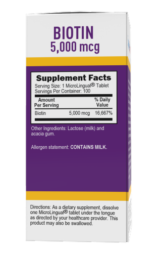 Superior Source Biotin Tablets 5000mcg 100 Count Perspective: back
