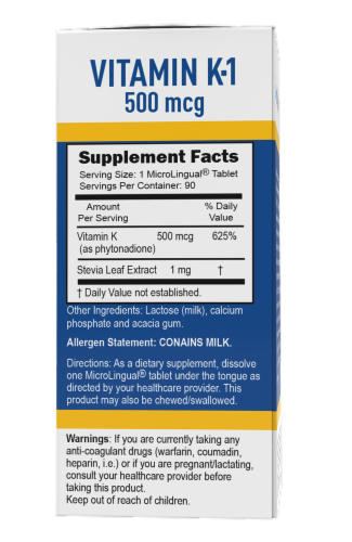 Superior Source Vitamin K-1 Instant Dissolve Tablets 500mcg Perspective: back