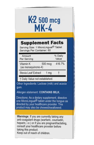 Superior Source Vitamin K2 Tablets 500mcg 60 Count Perspective: back