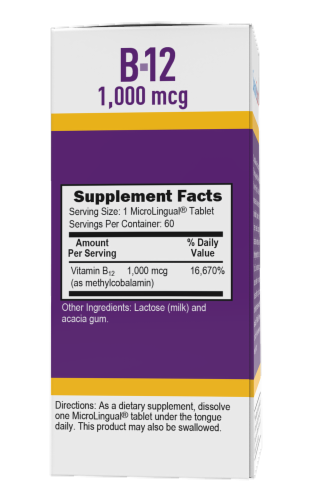 Superior Source No Shot Methylcobalamin B-12 Dissolving Tablets 1000mcg 60 Count Perspective: back