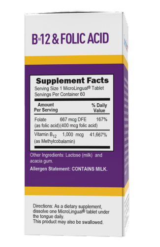 Superior Source No Shot B12 with Folic Acid Dissolving Tablets 1000mcg Perspective: back