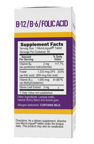 Superior Source No Shot B-12 with B6 and Folic Acid Dissolving Tablets 800mg Perspective: back