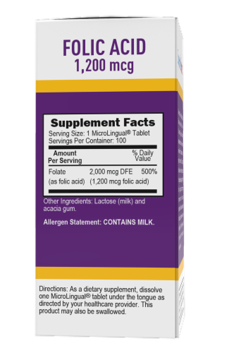Superior Source Folic Acid Dissolving Tablets 1200mg Perspective: back