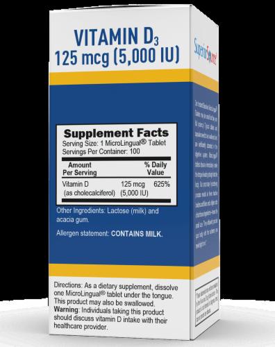 Superior Source Vitamin D3 Dissolving Tablets 5000IU Perspective: back
