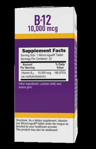 Superior Source No Shot Methylcobalamin B-12 Dissolving Tablets 10000mcg Perspective: back