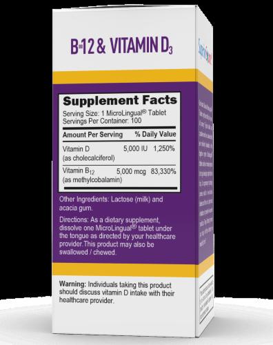 Superior Source No Shot B-12 & Vitamin D Instant Dissolvie Tablets 100 Count Perspective: back