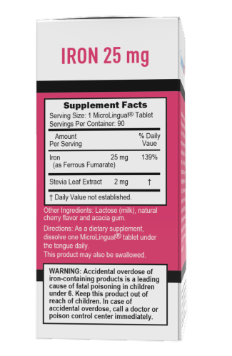 Superior Source Just Women Iron Tablets Perspective: back