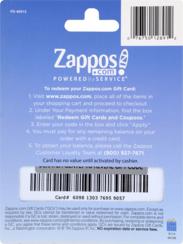 Zappos Variable Amount Gift Card Perspective: back