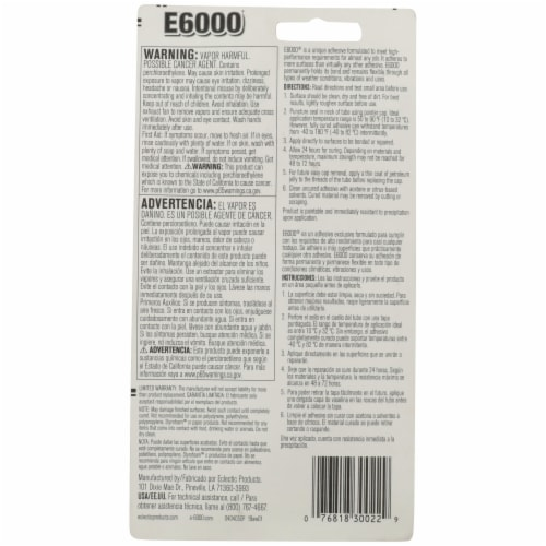 E6000 Automotive & Industrial Adhesive - Clear Perspective: back