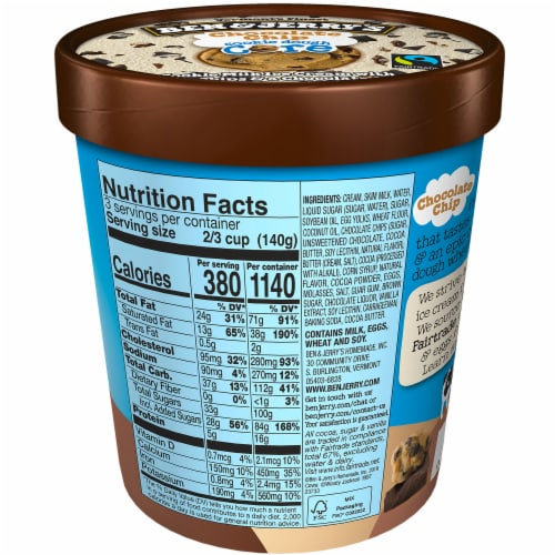 Ben & Jerry's Chocolate Chip Cookie Dough Core Ice Cream Perspective: back