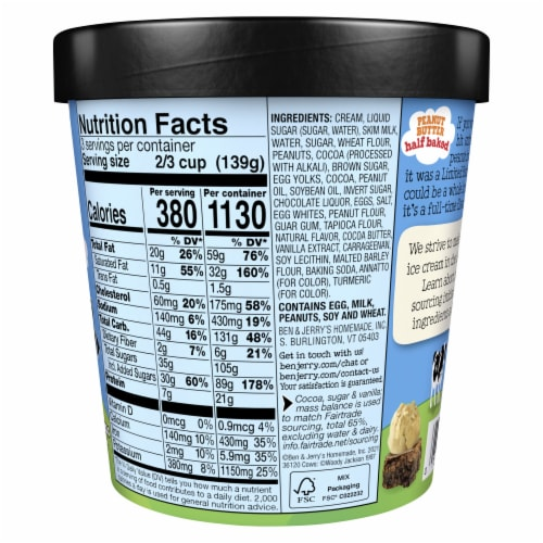 Ben & Jerry's Peanut Butter Half Baked Ice Cream Perspective: back