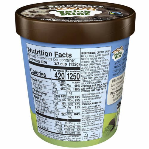 Ben & Jerry's Topped Thick Mint Ice Cream Perspective: back