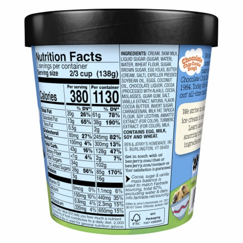 Ben & Jerry's Chocolate Chip Cookie Dough Ice Cream Perspective: back