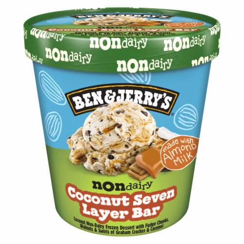 Ben & Jerry's Vegan Non-Dairy Frozen Dessert Coconut Seven Layer Bar Perspective: back