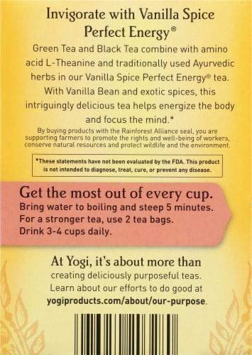 Yogi® Perfect Energy Vanilla Spice Tea Bags Perspective: back