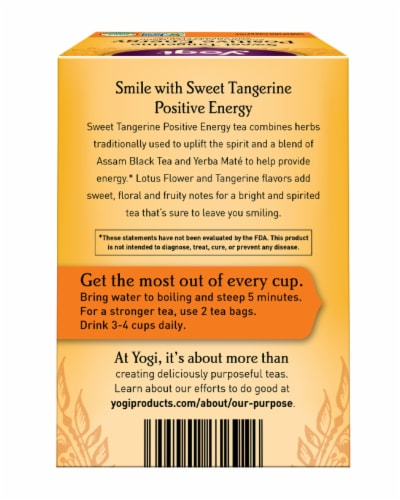 Yogi Sweet Tangerine Positive Energy Tea Bags Perspective: back