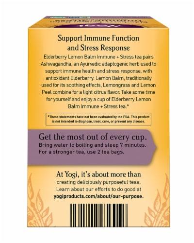 Yogi Elderberry Lemon Balm Immune + Stress Tea Bags Perspective: back