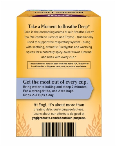 Yogi Breathe Deep Caffeine Free Tea Bags Perspective: back