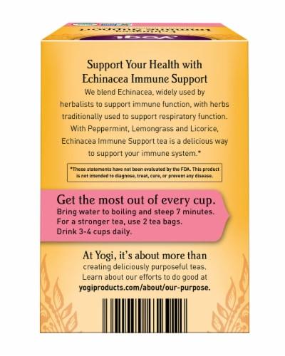 Yogi Echinacea Immune Support Caffeine Free Tea Bags Perspective: back