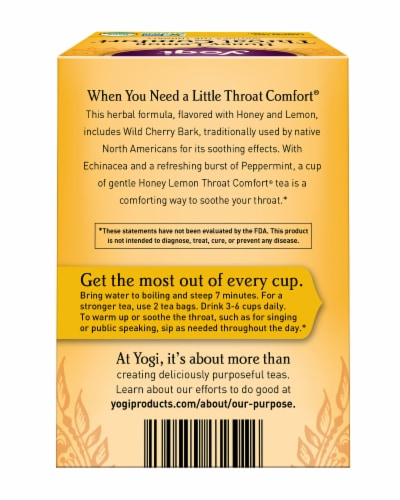 Yogi Throat Comfort Honey Lemon Caffeine Free Tea Bags Perspective: back