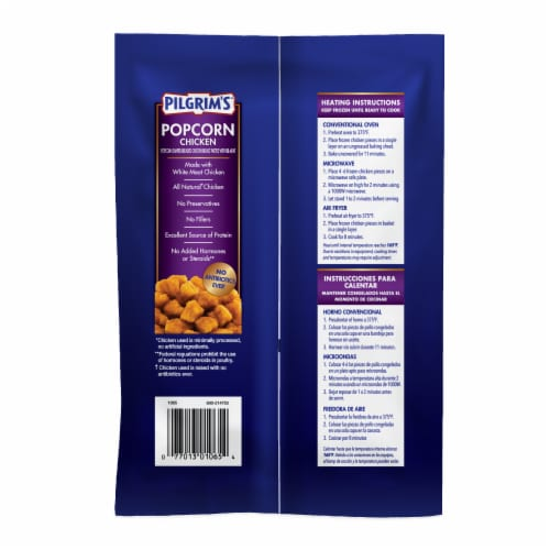 Pilgrim's Fully Cooked Popcorn Chicken Perspective: back