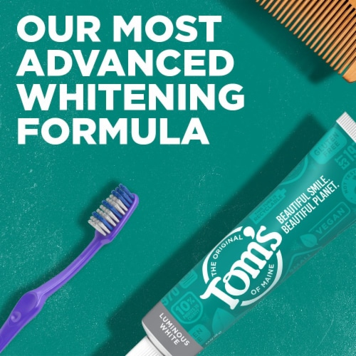 Tom's of Maine Clean Mint Luminous White Toothpaste with Fluoride Perspective: back