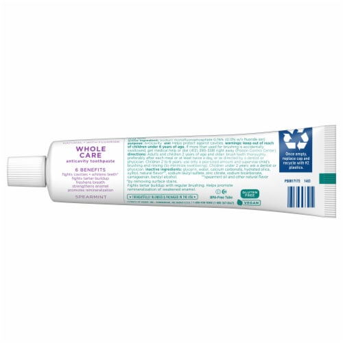 Tom's® Whole Care® Spearmint Gel Toothpaste Perspective: back