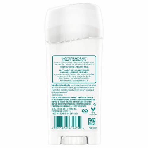 Tom's of Maine Unscented Long Lasting Deodorant Stick Perspective: back