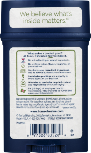 Tom's of Maine Long Lasting Mountain Spring Men's Natural Deodorant Stick Perspective: back