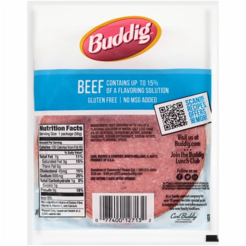 Buddig™ Thin-Sliced Smoked Beef Lunchmeat Perspective: back