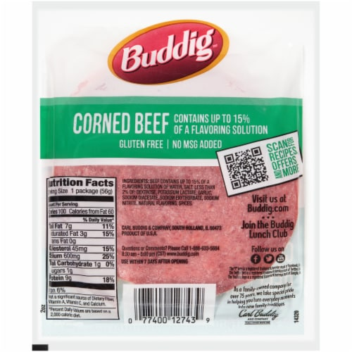 Buddig™ Thin-Sliced Corned Beef Lunchmeat Perspective: back