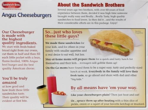 Sandwich Bros. Angus Cheeseburger Flatbread Pocket Sandwiches Perspective: back