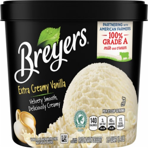 Breyers Extra Creamy Vanilla Ice Cream Perspective: back