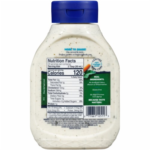 Litehouse Homestyle Ranch Dressing and Dip Family Size Squeeze Bottle Perspective: back