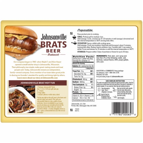 Johnsonville Beer Bratwurst Party Pack Perspective: back