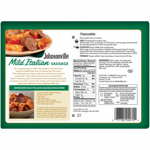Johnsonville Mild Italian Sausages Party Pack Perspective: back