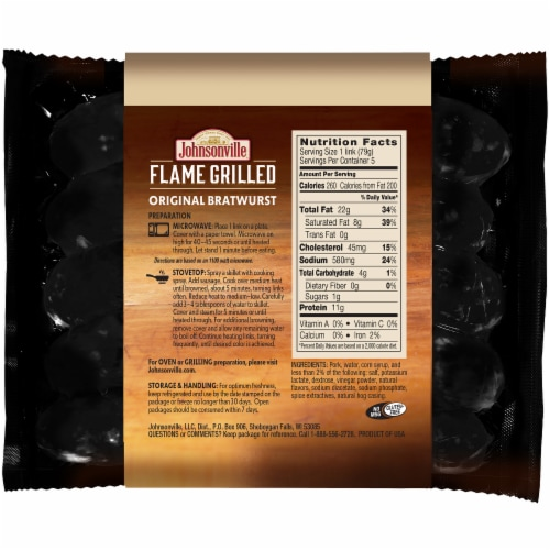 Johnsonville Flame Grilled Fully Cooked Original Bratwurst Perspective: back
