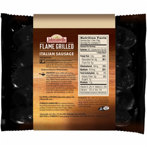 Johnsonville Flame Grilled Fully Cooked Italian Sausage Perspective: back