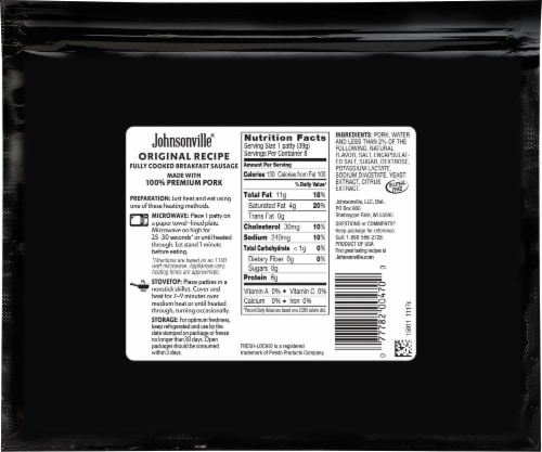 Johnsonville Original Recipe Fully Cooked Breakfast Sausage Patties Perspective: back