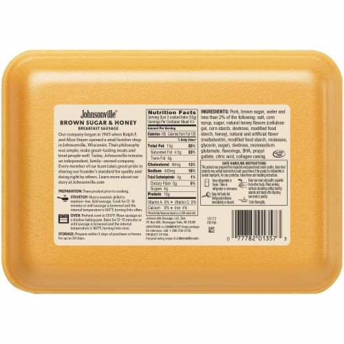 Johnsonville Brown Sugar & Honey Flavor Breakfast Sausage Links Perspective: back